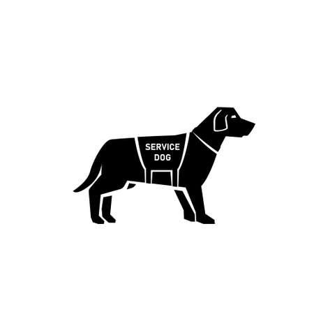 Service dog silhouette icon. Clipart image isolated on white background Ilustração
