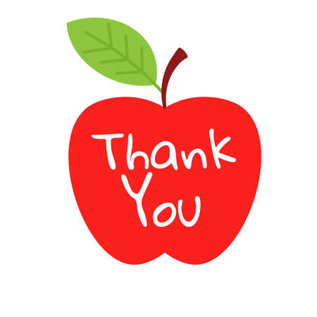 Apple thank you. Clipart image isolated on white background Vector Illustratie
