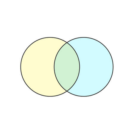 2 Circle Blank Venn diagram icon. Clipart image isolated on white background