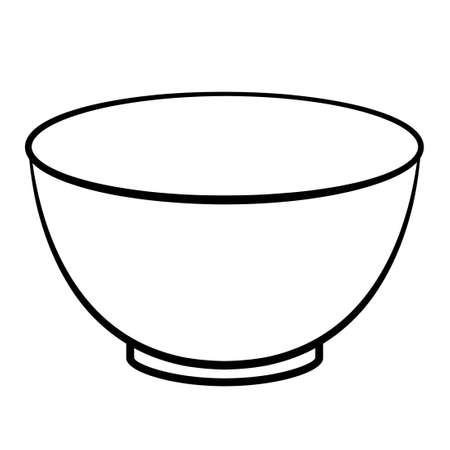 Empty cereal bowl outline icon. Clipart image isolated on white background