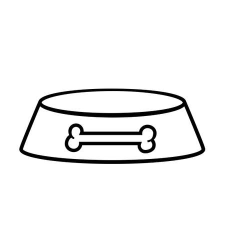 Empty dog bowl outline icon. Clipart image isolated on white background