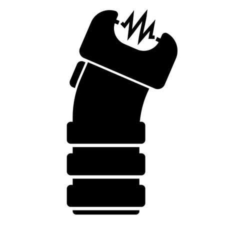 Stun gun silhouette icon. Clipart image isolated on white background