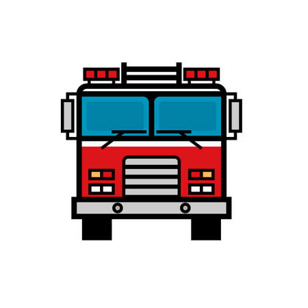 Firetruck front view filled outline icon. Clipart image isolated on white background