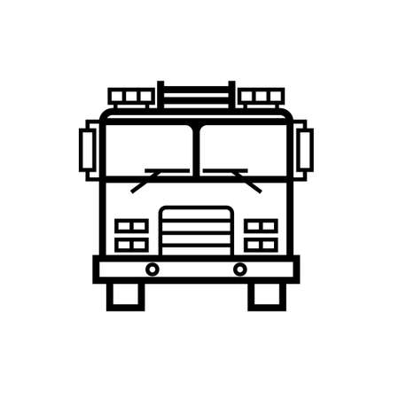 Firetruck front view outline icon. Clipart image isolated on white background Иллюстрация
