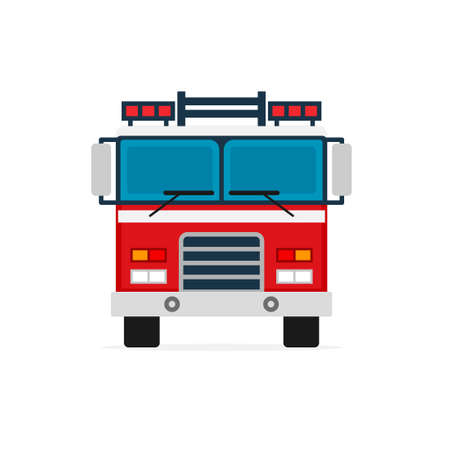 Firetruck front view icon. Clipart image isolated on white background Иллюстрация