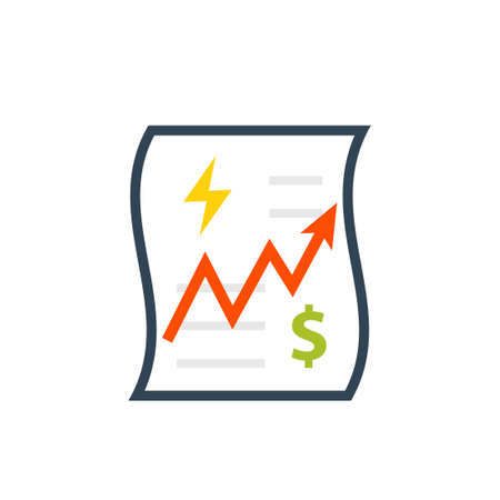 Utility bill increase icon. Clipart image isolated on white background