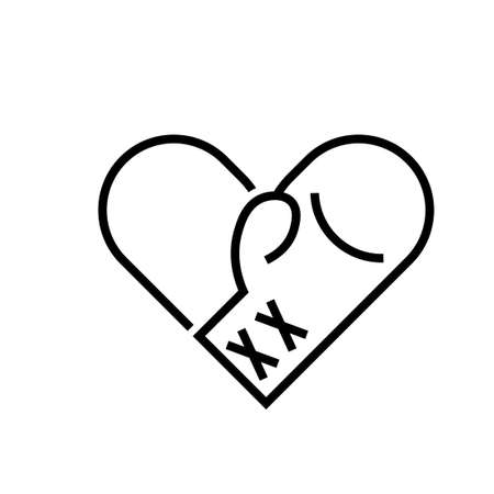 Boxing gloves heart outline icon. Clipart image isolated on white background 矢量图像
