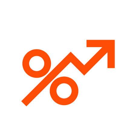 Percen rising icon. Clipart image isolated on white background