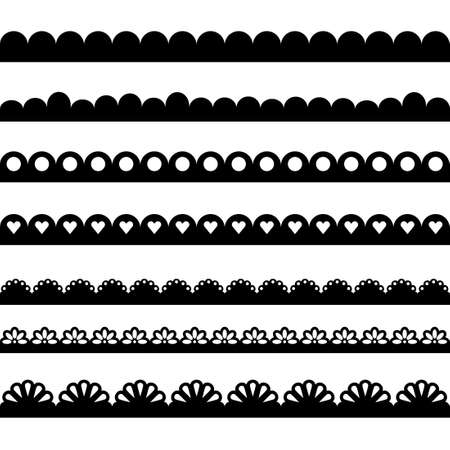 Scalloped edge collection. Clipart image isolated on white background