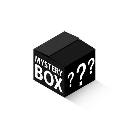 Black mystery box isometric icon. Clipart image isolated on white background
