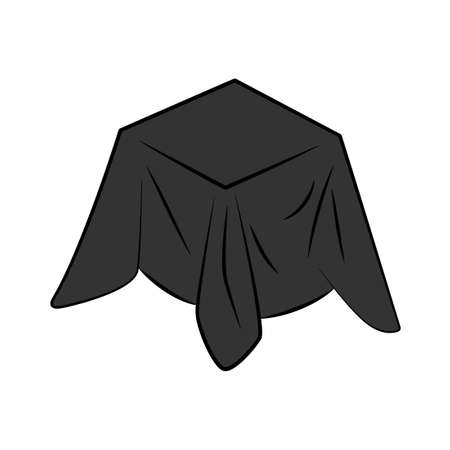 Black cloth covered box icon. Clipart image isolated on white background