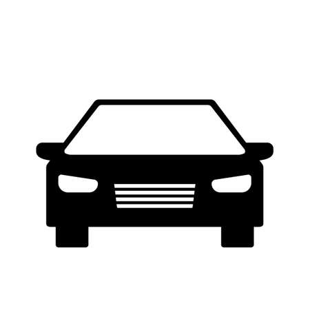 Car front view silhouette icon. Clipart image isolated on white background Vettoriali
