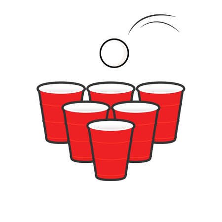 Beer pong set. Clipart image isolated on white background 向量圖像