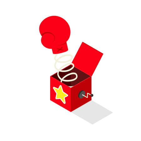 Boxing glove jack in the box isometric icon. April fools day clipart image isolated on white background 矢量图像
