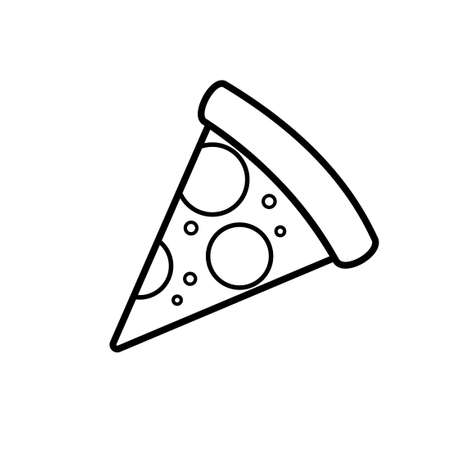 One slice pizza outline icon. Clipart image isolated on white background Çizim