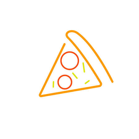 One slice pizza outline icon. Clipart image isolated on white background 向量圖像