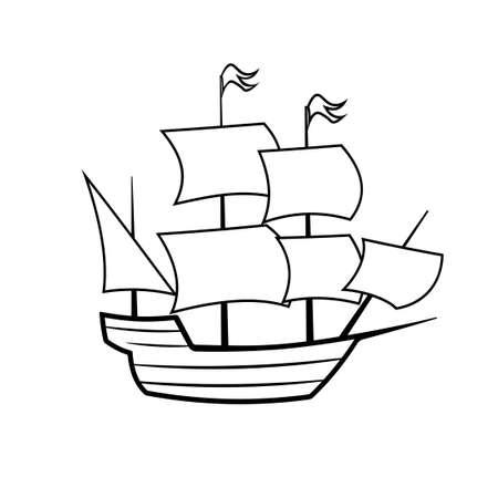 Mayflower ship outline icon. Clipart image isolated on white background Ilustração