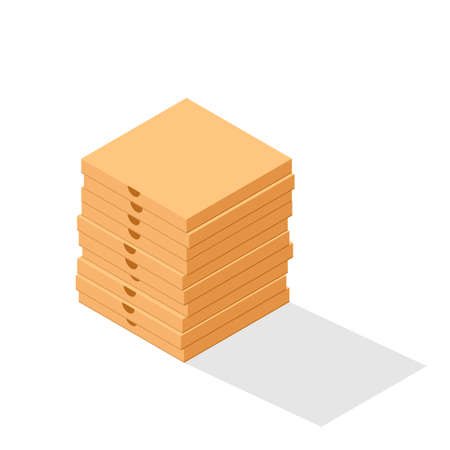 Stack of pizza boxes. Clipart image isolated on white background