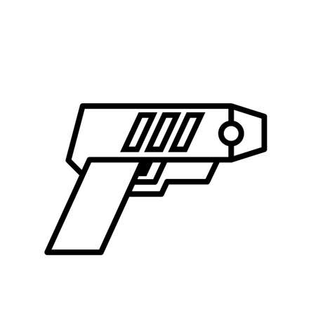 Police taser outline icon. Clipart image isolated on white background 向量圖像