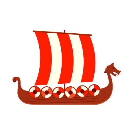 Viking ship icon. Clipart image isolated on white background