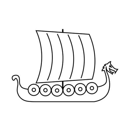 Viking ship outline icon. Clipart image isolated on white background
