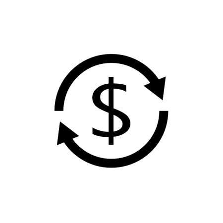 Cost recoveryblack icon. Money clipart isolated on white background 向量圖像