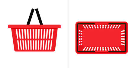 Red shopping basket top and side view icon. Clipart image isolated on white background