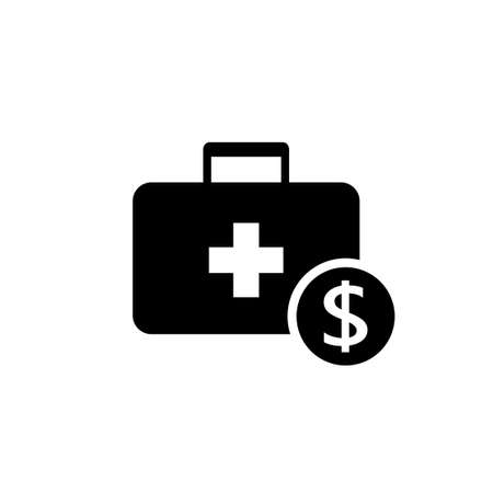 Hospital cash silhouette icon. Clipart image isolated on white background