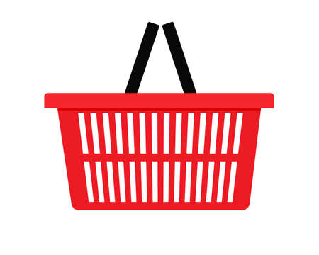Red shopping basket side view icon. Clipart image isolated on white background 向量圖像
