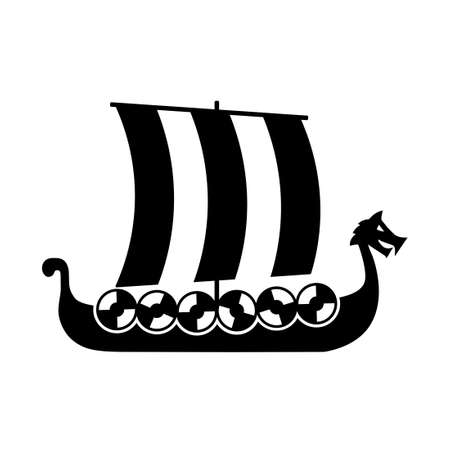 Viking ship silhouette icon. Clipart image isolated on white background Vettoriali