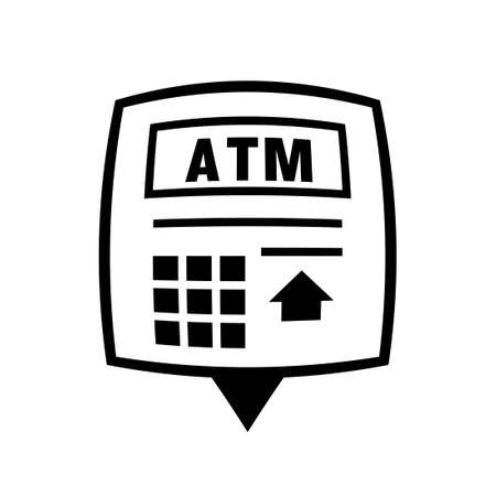 ATM near me pin icon. Clipart image isolated on white background Vettoriali