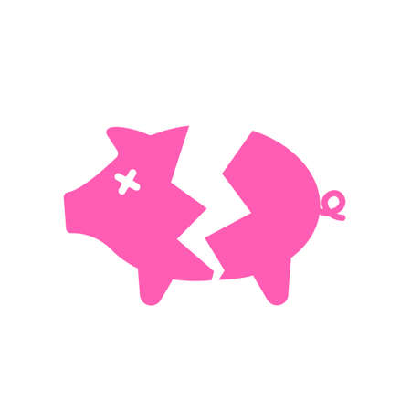 Broken piggy bank icon. Clipart image isolated on white background