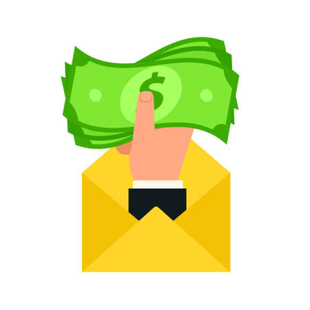 Money cash in envelope. Bribery concept icon. Clipart image isolated on white background Vettoriali
