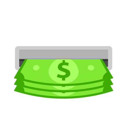 ATM slot with cash money. Clipart image isolated on white background 向量圖像