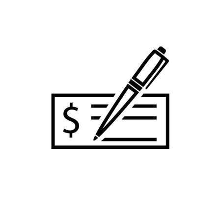 Check deposit with pen icon. Clipart image isolated on white background 向量圖像