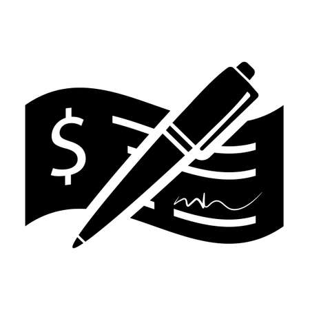 Check deposit with pen icon. Clipart image isolated on white background Vettoriali