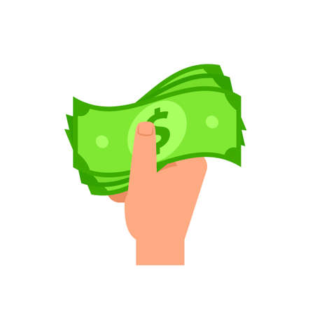 Hand holding cash money icon. Clipart image isolated on white background 向量圖像