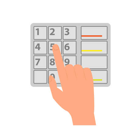 Hand with ATM keypad icon. Clipart image isolated on white background
