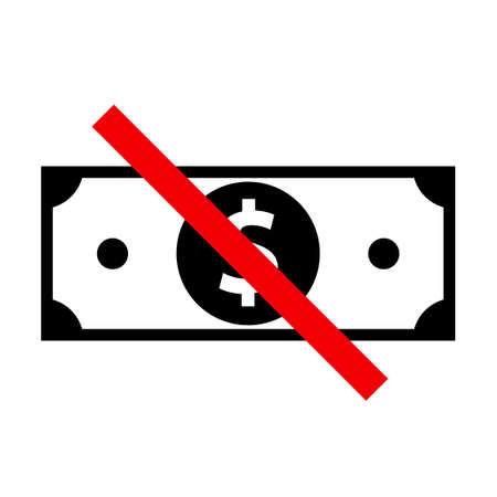 No cash concept icon. Clipart image isolated on white background Vettoriali