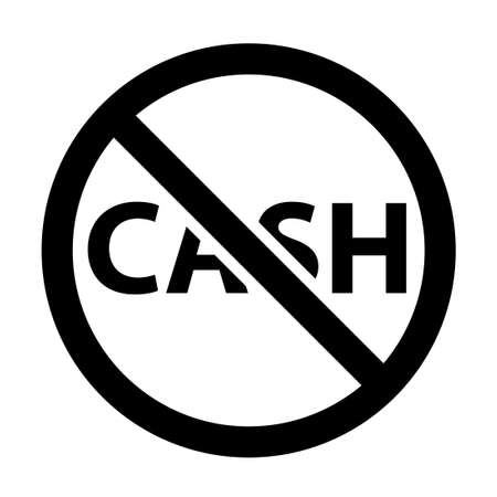 No cash glyph icon. Clipart image isolated on white background