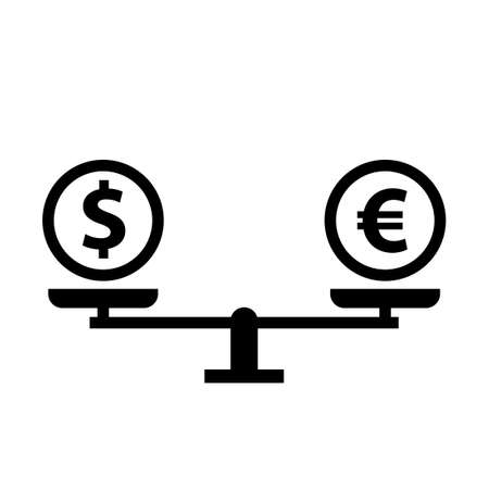 Money compare concept silhouette icon. Clipart image isolated on white background