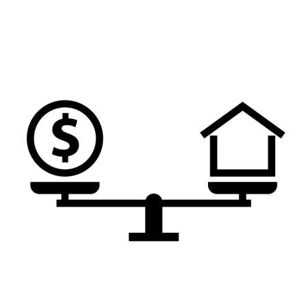 Mortgage balance concept silhouette icon. Clipart image isolated on white background