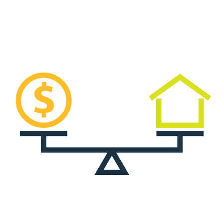 Mortgage balance concept icon. Clipart image isolated on white background 向量圖像