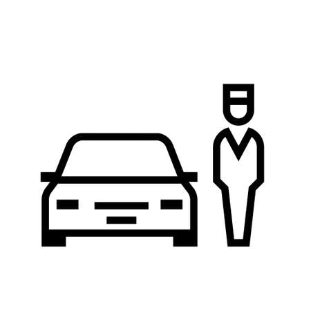 Parking valet outline icon. Clipart image isolated on white background Vettoriali