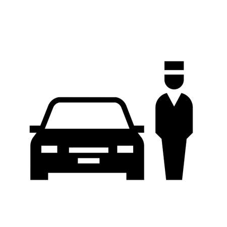Parking valet silhouette icon. Clipart image isolated on white background Vettoriali
