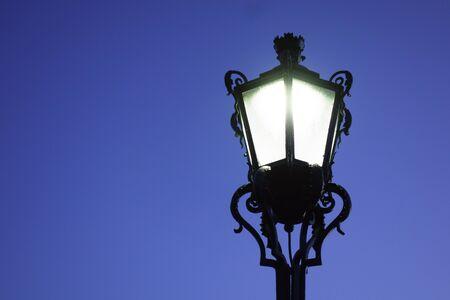 retro streetlight at the blue hour