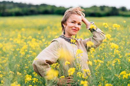 horizontal portrait of a beautiful woman on hippie dress