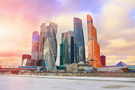 Moscow City - view of skyscrapers Moscow International Business Center. Winter landscape of a modern city in the colorful sunset. Business concept of modern construction technologies and success.