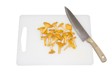 Raw wild chanterelle mushrooms redy for cooking. Composition with wild mushrooms. Chanterelle mushrooms on cutting board with kitchen knife isolated on white background