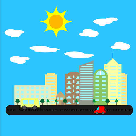 A modern city with tall houses and skyscrapers on sunny summer day. Cityscape with road and cars. Skylines vector Illustration